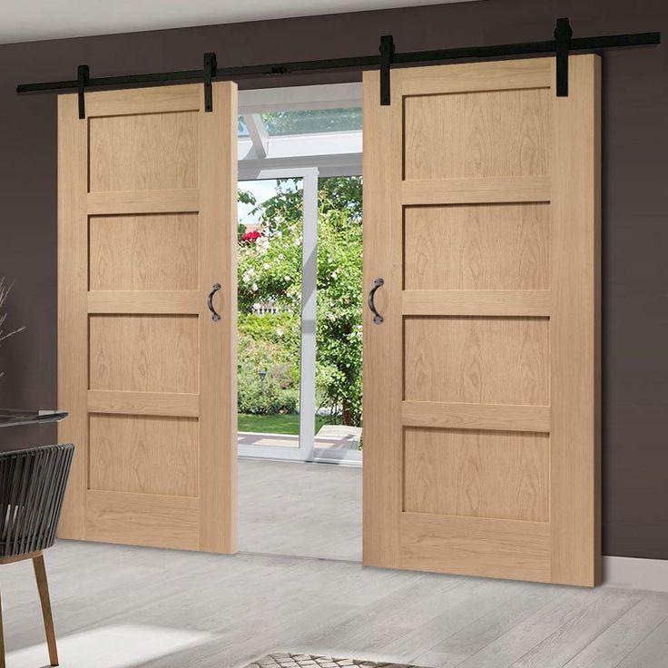 Thruslide Traditional 4P Shaker Oak Solid Sliding Double Door  - Lifestyle Image.    #barnstyledoor #slidingdoor