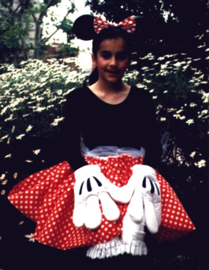 Disfraz de Minnie Mouse de cuando era niña