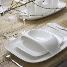 villeroy & boch 'urban nature' dinnerware. also love this table setting, and if anyone knows where to get those glasses... please tell.