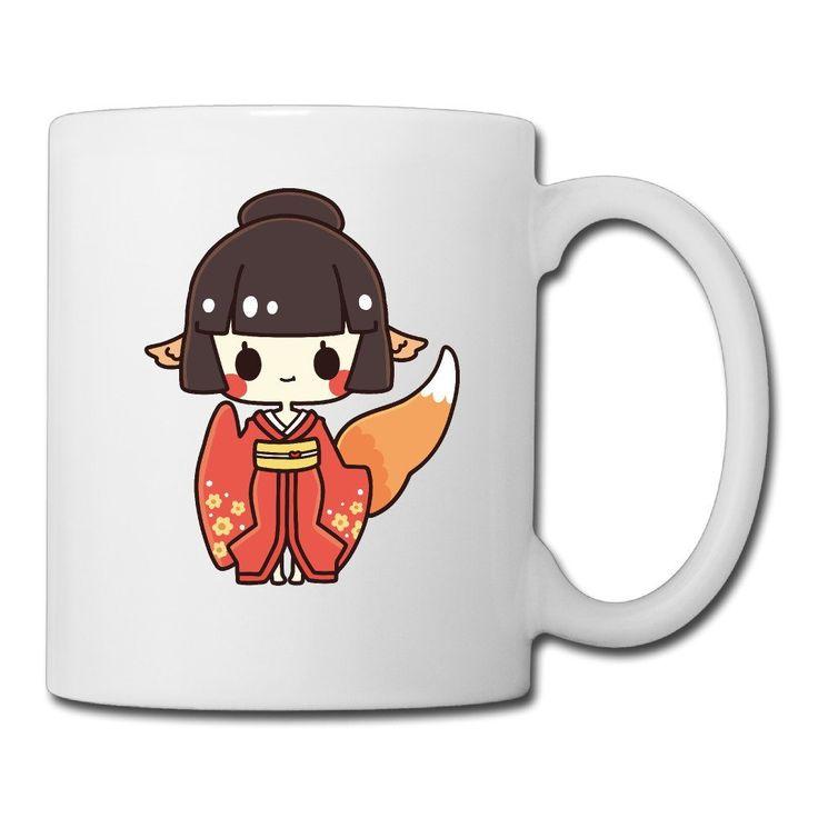 Cool japan anime fox girl ceramic coffee mug tea cup