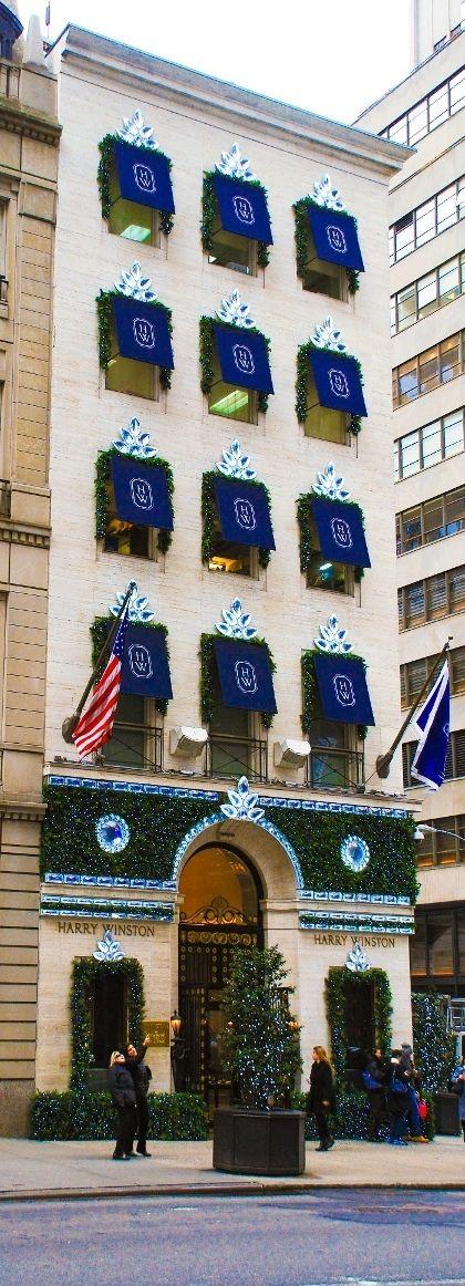 Harry Winston jewelery store decorated with elegant Christmas lights.  New York City Christmas holidays.