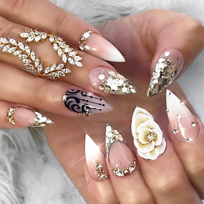 30 Pointy Nails Designs You Can T Resist To Copy Pointy Nail Designs Pointy Nails White Nail Designs