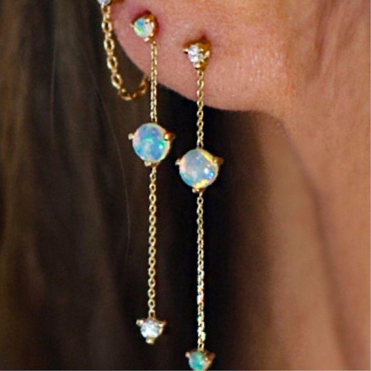 LILIANA SKYE | Dainty Opal & Chain Earrings Dangle Earrings Piercing & Liliana Skye #dangledrop #opalearrings