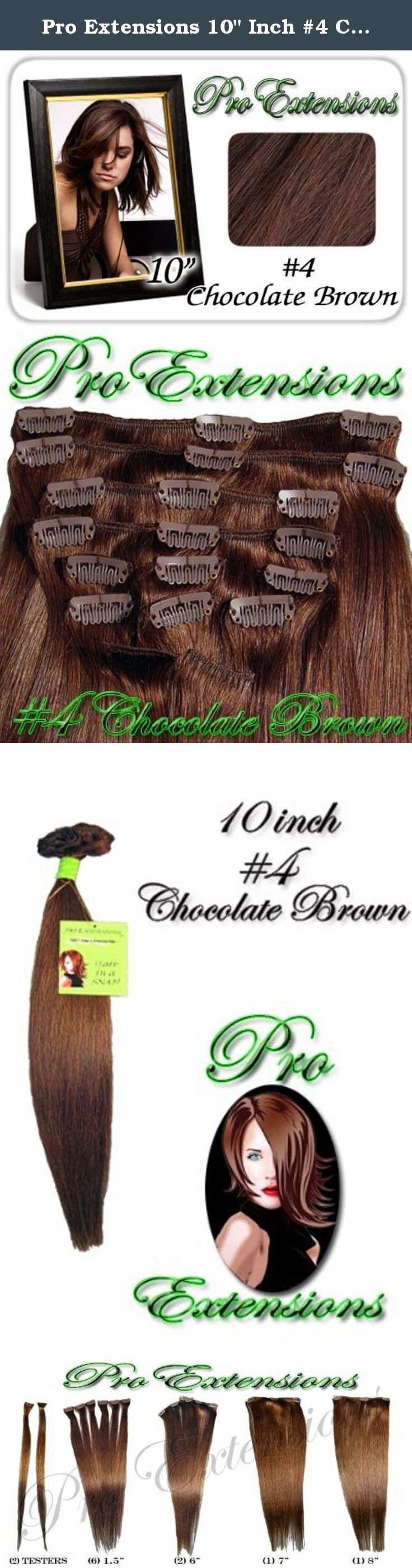 """Pro Extensions 10"""" Inch #4 Chocolate Brown 100% Real Human Clip in Hair Extensions. This Pro Extensions clip in hair extension set is Colored #4, CHOCOLATE BROWN. Pro Extensions are 100% human hair extensions. This set of hair extensions is 10"""" long and 39"""" wide. This hair extensions set is Grade A, Color #4, CHOCOLATE BROWN. The set weight is 50 grams. This set of extensions is straight without any body wave. Pro Extensions Volumizer is specialized to add volume or texture to your…"""