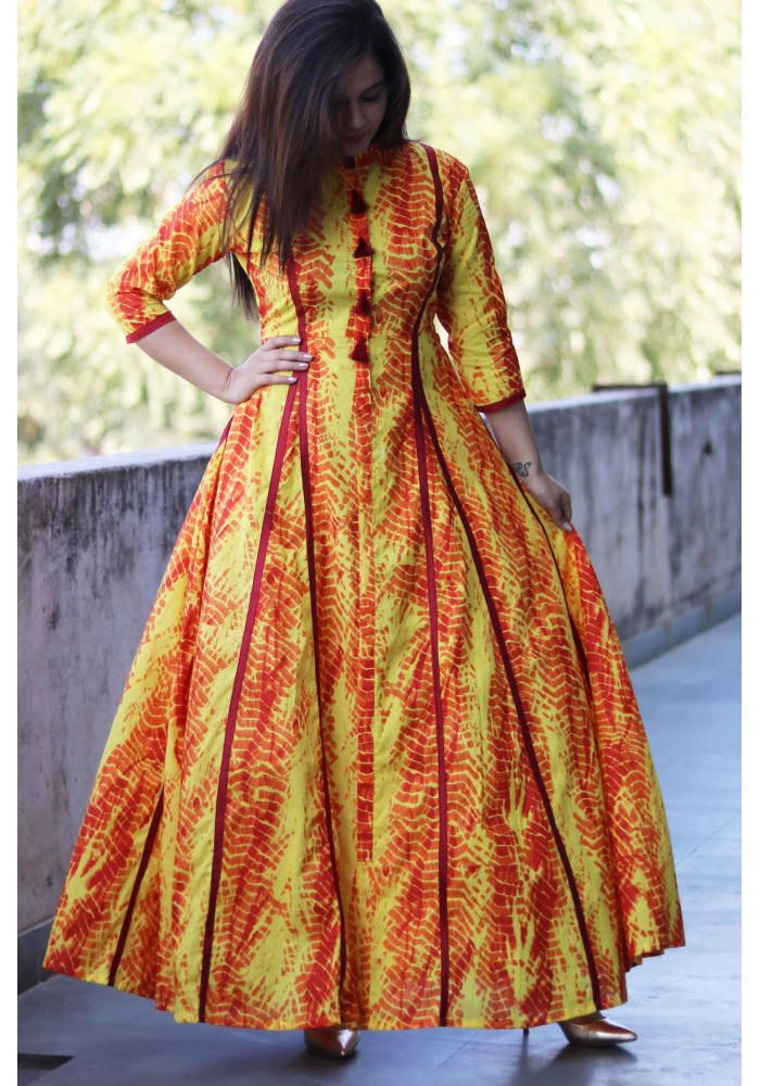 Yellow Maroon Patti Maxi