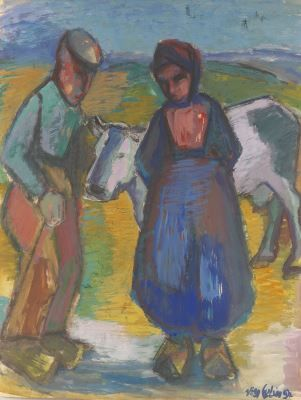 Christiana 'Stien' Eelsingh (Zwolle 1903-1964 Meppel) A farmer's couple with a cow - #Overijssel #Staphorst