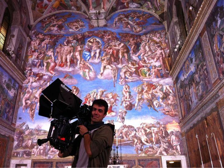 My son Carlos, background Giudizio Universale in Cappella Sistina