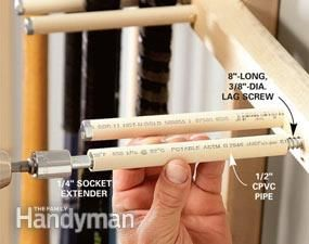 Lag screws provide the muscle to support sports gear, but PVC protects from scratches