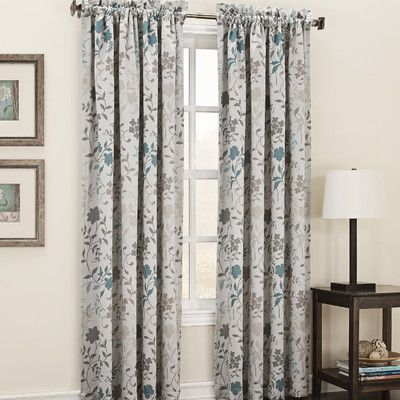 Sun Zero Auburn Room Darkening Floral Print Single Curtain Panel