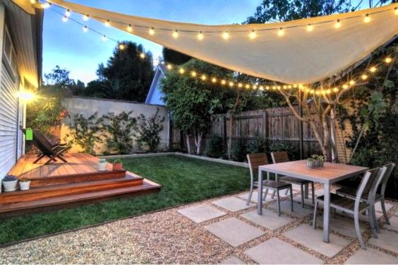 Garden Design with Backyard Shade Ideas, Shade Shail Triangular With Party Light  with Herb Gardens from hovgallery.com
