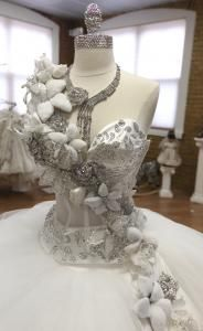 The bodice of the gypsy wedding dress (priced at $20,000), with Swarovski crystal pins and flat-back crystals. Designer Sondra Celli (left) and an assistant, Valentina Sofranova.