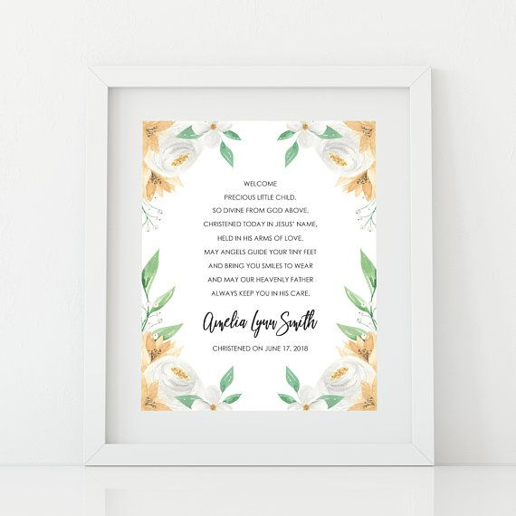 Floral Baby Christening Printble Baby Dedication Gift Gift From Godparents Baby Blessing Ideas Christian Baby Gifts Baby Dedication Baby Dedication Gifts