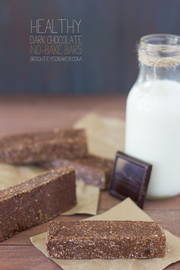 Healthy Dark Chocolate No-Bake Bars