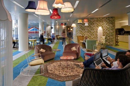 Crazy crazy mix of colors, patterns, furniture and fixtures- Googles London headquarters