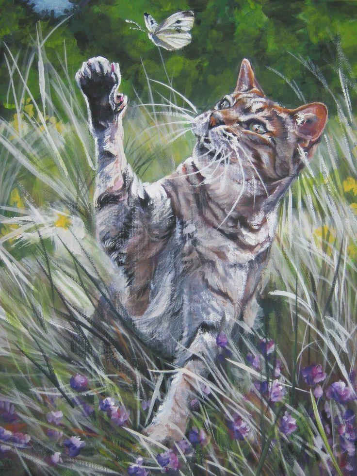 Cyperse kat art print canvas afdrukken van LA door TheDogLover