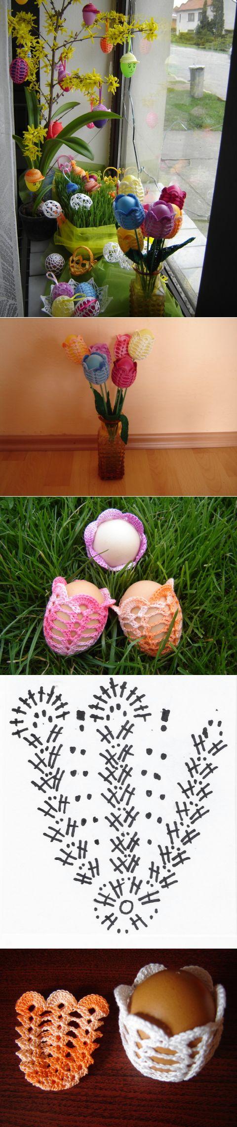 Пасхальные яйца ТЮЛЬПАНЫ. Вязание крючком