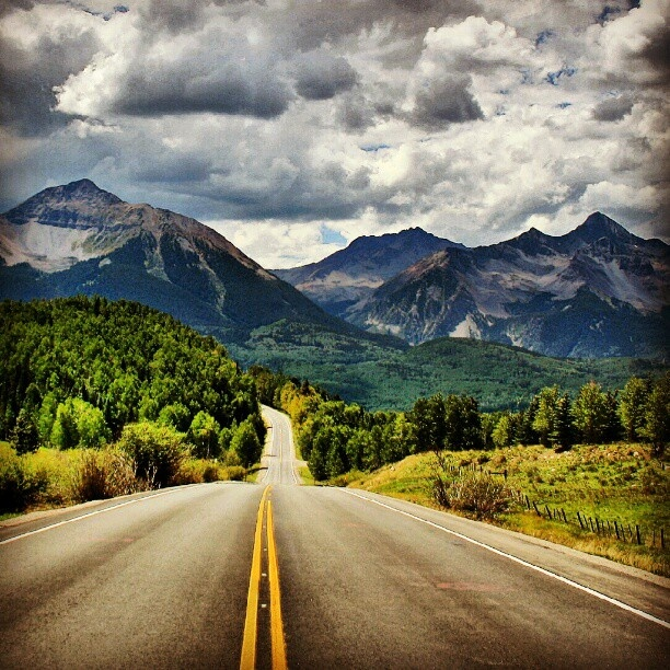 Highway 145 near Telluride, CO. I would love to just start driving and see where it takes me. I wanna just take a road trip and enjoy the scenery. :)