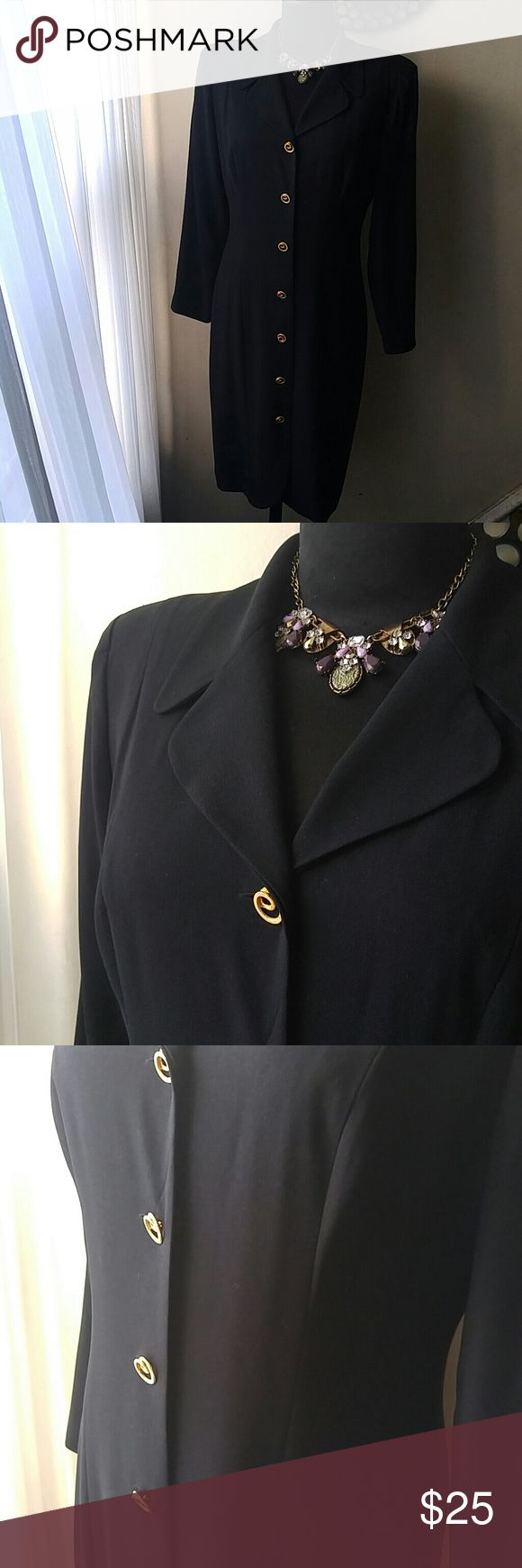 "Stunning Liz Claiborne "" I mean Business Dress"" Excellent condition. This classic, iconic sillouhette will surely deliver compliments your way. Crepe material provides the perfect drape. Goldtone swirl buttons makes this cute pop. Lightly padded shoulder pads creat structure. Fully lined, inverted pleated pleat(very chic touch) Please note: 21 inches pit to pit, 18.25 waist, 22.5 hip, 41.5 length, sleeve 24 inches, 17.5 all measurements were taken laying flat. Liz Claiborne Dresses"