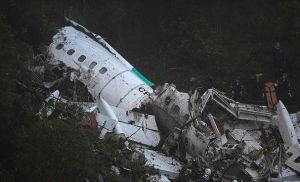 The wreckage of LaMia airlines charter plane carrying members of the Chapecoense Real soccer team, Nov. 29, 2016, after it crashed in the mountains of Colombia. Getty Images.