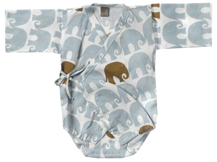"""Zebi Baby Organic """"Blue Elephant"""" Kimono Baby Wrap"""