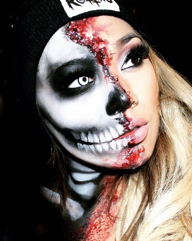 Here is Side view of my @jistyplaven inspired skull // thank you @wakeupandmakeup for the shout out! ❤️ working on new looks today had to take sometime of because of personal reasons. Hope you guys understand it's been a hard and tough month for my fam and I. And yes my YouTube has been hacked but that loser doesn't get to win.. Thank you guys for your support not a day goes by I don't think about it. Love you guys..