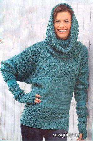 Tyrkysový svetr s netopýřími rukávy, límec límec rukavice bez prstů pletení Pletení CHAPTER - vesty, obvodové modely