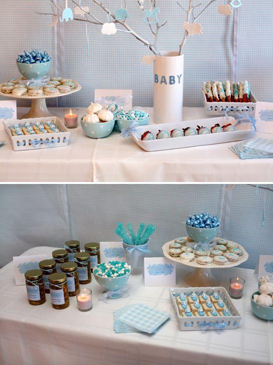 blue white gingham dessert table for baby boy shower