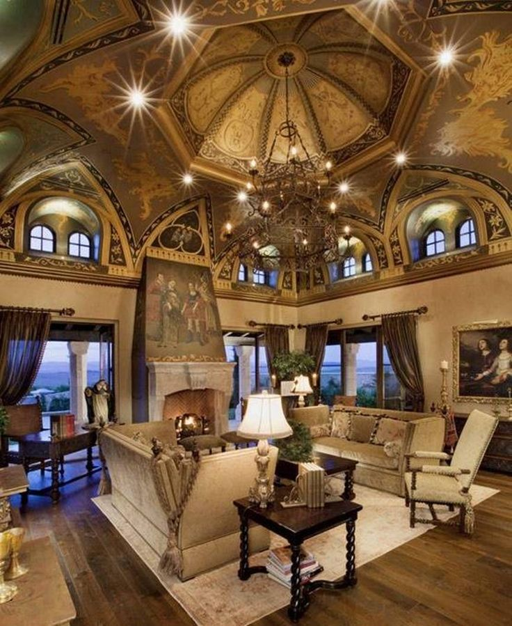 Luxury homes interior designs old world style with amazing ceiling and chandelier and tan - Luxury house interiors ...