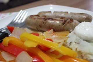 Healthy Bangers and Mash with Spicy Peppers. Nice comfort food!