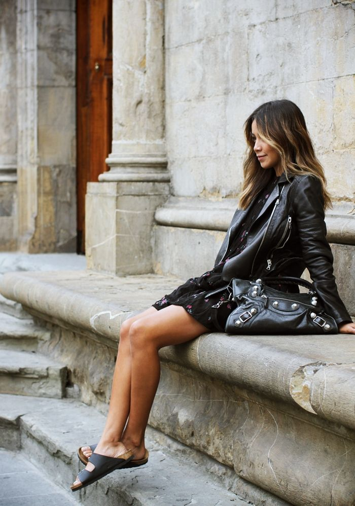 leather jacket, Balenciaga bag, Birkenstock 'Arizona' sandals #leather #style