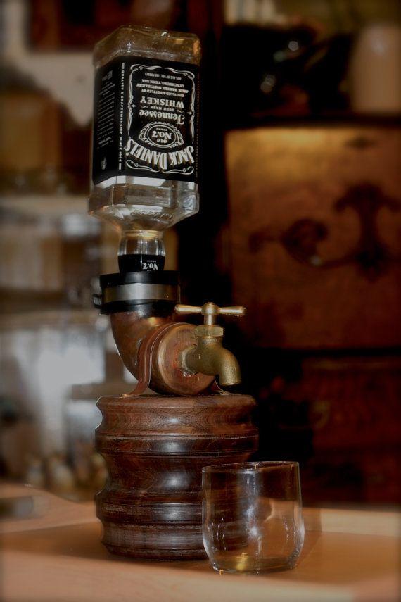 Man Cave Liquor Decor : Walnut liquor dispenser whiskey faucet guy gift man
