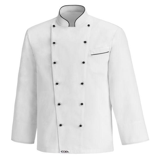 White Fat Boy Chaqueta unisex tallaje extra. Hasta 7XL. 100% algodón. Color blanco. Ribete negro en cuello y bolsillo. 12 Botones negros. www.chefaporter.com