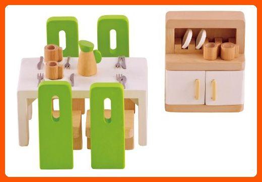 Hape Wooden Doll House Furniture Dining Room Set - Toys for little kids (*Amazon Partner-Link)