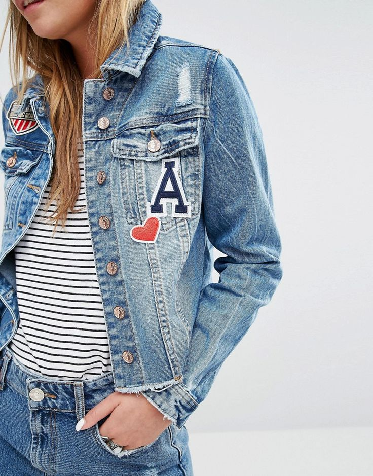 Image 3 of New Look Raw Edge Badge Denim Jacket