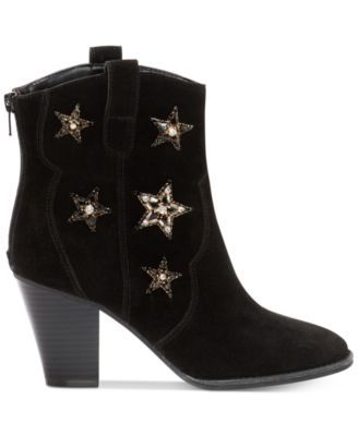 "Anna Sui x INC International Concepts Dazzlerr Western Ankle Booties, Created for Macy's $159.50 Anna Sui x INC International Concepts adds shining stars and fun western flair to your look in these Dazzlerr cowboy booties. ABOUT THE ANNA SUI x INC COLLABORATION The team at INC collaborated with Anna Sui to design an exclusive capsule collection called ""Anna Sui x INC,"" which includes clothing, handbags, shoes and jewelry. This exclusive joint capsule collection will be available at select…"
