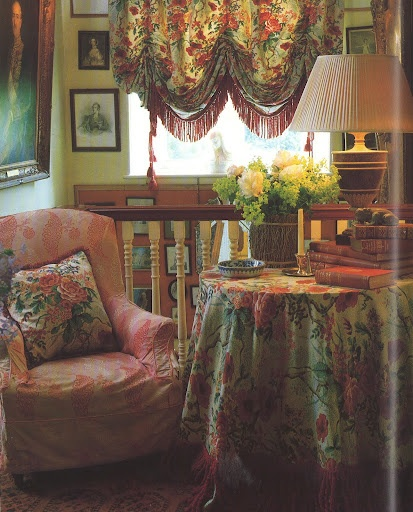 John Fowler's ability to mix patterns and colors in upholstery, window treatments and, in the case of the classic Wiltshire rectory landing, table fabric is inspiring.
