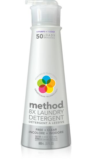 method laundry detergent in free + clear packs 50 loads of ultra concentrated plant-based formula, delivering big cleaning power with a few tiny squirts.