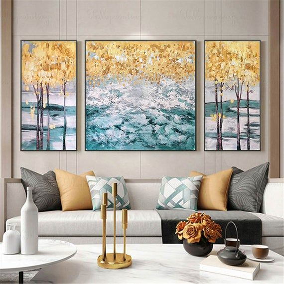 3 pieces gold art abstract canvas painting wall art on modern acrylic paintings for living room id=54373