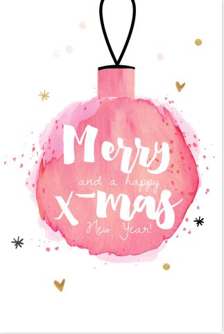 Festive Christmas card, watercolor brush and hand lettering