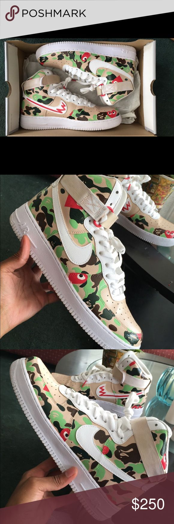 New heat customs Air Force 1 Nike Air Force 1 Comme de garçons and Bape collab customs make offers but I take pride in my work so dont low ball me. If you want some done personally contact me. Nike Shoes Sneakers