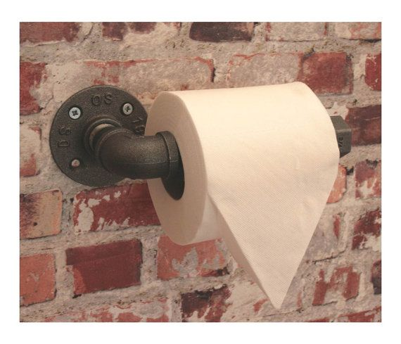 TOILET ROLL HOLDER Industrial Iron Water Pipe Steam Punk Vintage Style 1949 Washroom Bathroom  Malleable Flange Fitting to Wall  wc