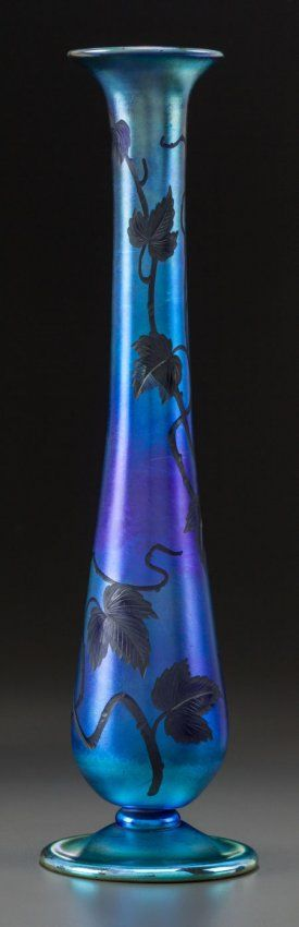 "Tiffany Studios Engraved Favrile Glass Vase, Engraved ""L.C. Tiffany - Favrile, 1503, 5086L""   c.1900"