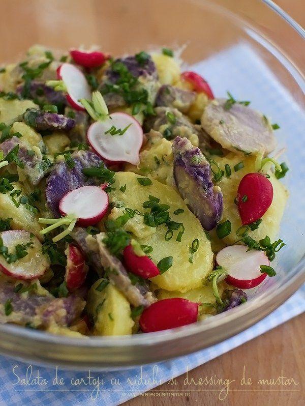 salata de cartofi cu ridichi si dressing de mustar
