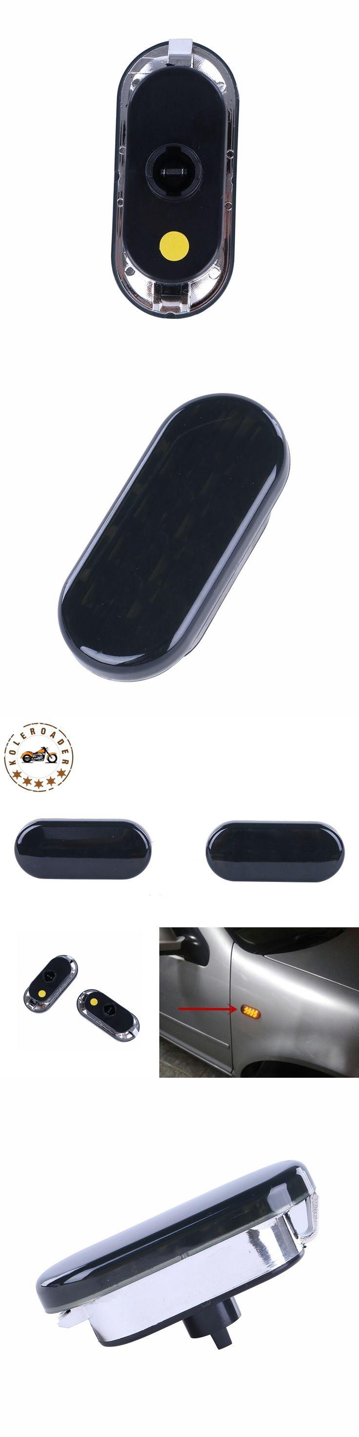 2x Amber Beetle LED Side Marker Light Turn Signal Lamp Smoked Lens For VW Jetta Golf Mk4 Passat B5 1999-2004 #976