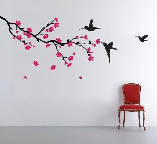 tak met bloesem en kolibri's