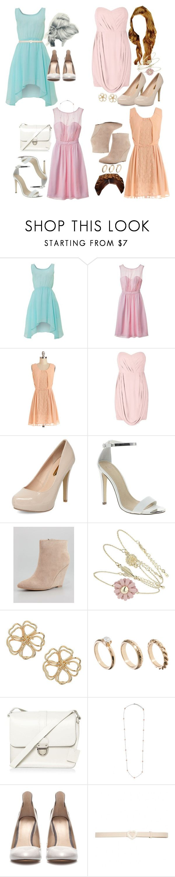 Lydia Inspired Pastel-Themed Bridesmaid Outfits by veterization on Polyvore featuring Glamorous, Tevolio, Seychelles, Zara, Dorothy Perkins, ASOS, H! by Henry Holland, Topshop, Ingenious Jewellery and Alice + Olivia