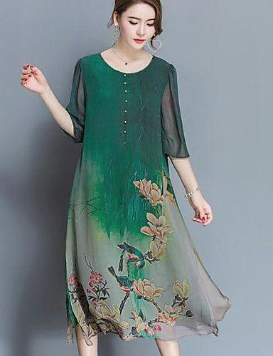 teken zijden jurk high-end voorjaar nieuwe vrouwelijke grote werven losse 100% zijde print jurk was dun 5706510 2017 – €15.51