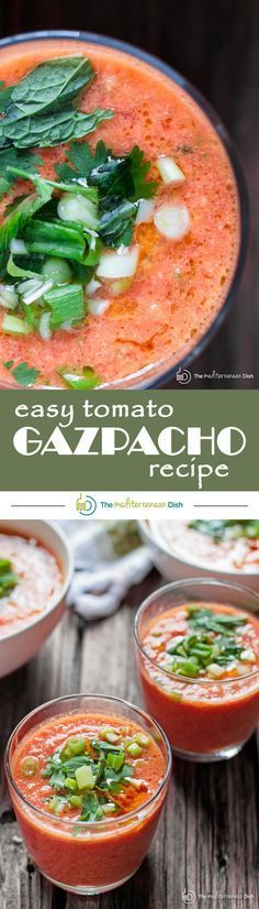 Easy Tomato Gazpacho Recipe   The Mediterranean Dish. Fresh, crisp and flavor-packed! You can make it in 15 minutes! Blend super ripe tomatoes with other chopped fresh vegetables, garlic and spice. Chill then add olive oil and a little herb garnish. And just like that, dinner is served! Or serve it as a party appetizer in small cups or even shot glasses!