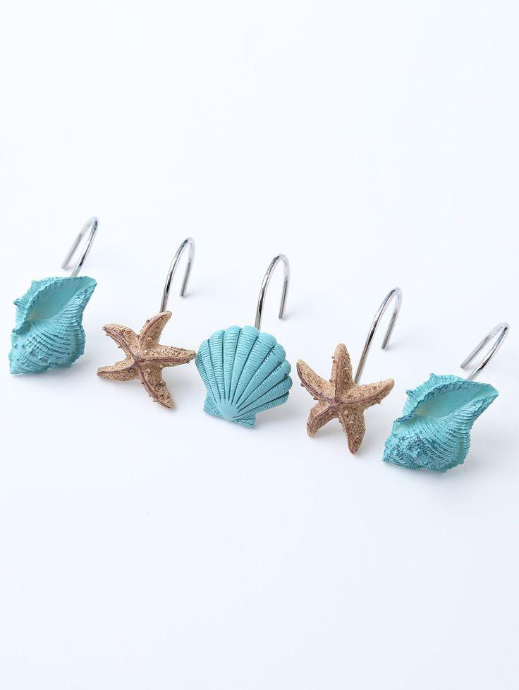 12 Pcs Seashell Shower Curtain Hooks - LAKE BLUE