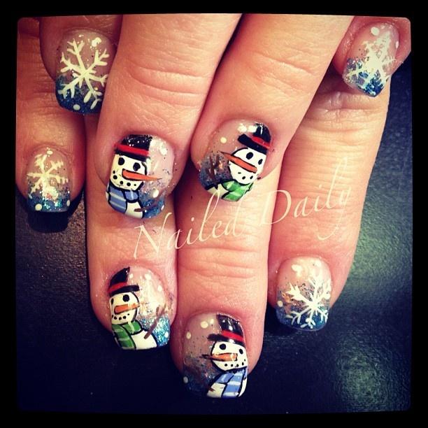 Christmas SNOWMAN #nail #nails #nailart